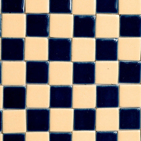 Ceramic Tile, Blue and Cream