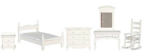 White Bedroom Set, Twin, Five Piece