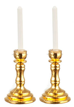 Brass Candlesticks with White Candles, Pair