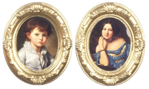 Pair of Oval Portrait Prints, Vintage
