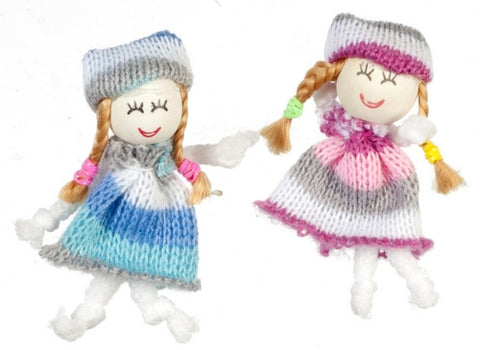 Cutie Blue and Rose Cloth Dolls, Pair