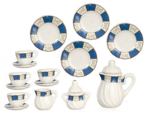 Tea Set, 17 Piece Porcelain, Blue Trim