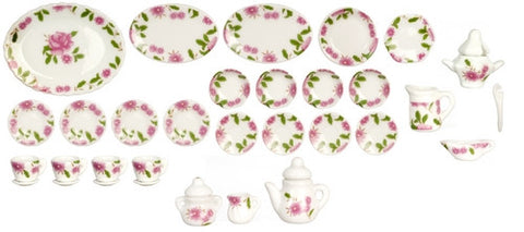 32 Piece Dinner Set, Rose Pattern
