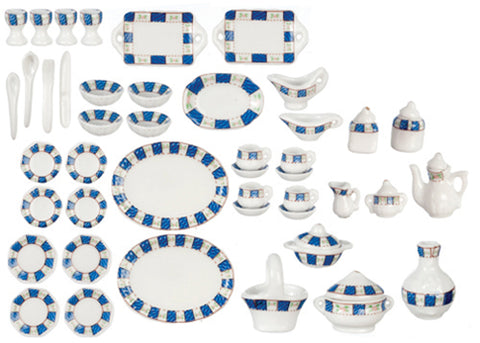 Tea Service, 50 Piece Set with Dishes, Blue and White