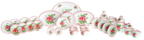 China Set, 35 Piece, Red Roses