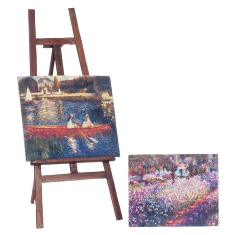 Easel with Two Canvas Paintings
