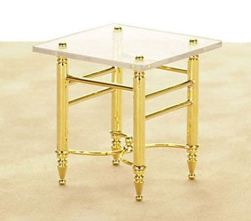 End Table, Brass and Glass