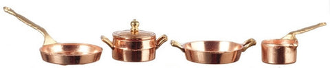 Copper Pot and Pan Set of Five