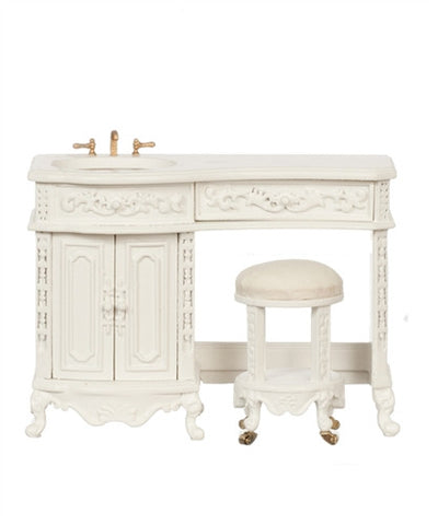 Avalon Sink With Stool, White