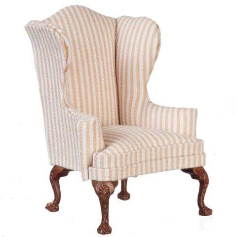 Cream and Gold Stripe Wing Chair