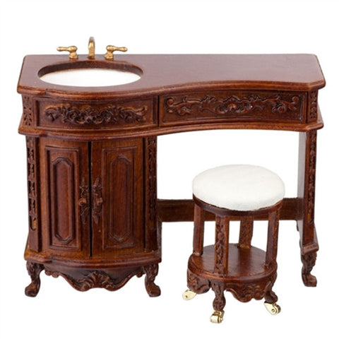 Avalon Vanity and Stool, Walnut or Mahogany Finish