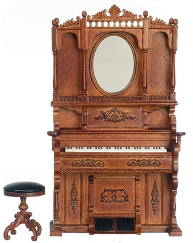 Organ, Highback with Mirror and Stool, New Walnut