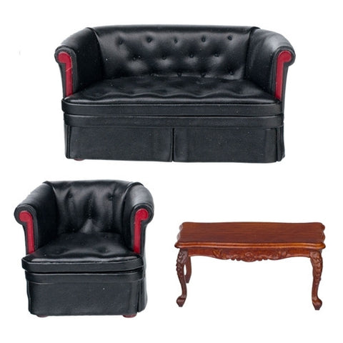 Black Leather Three Piece Living Room Set