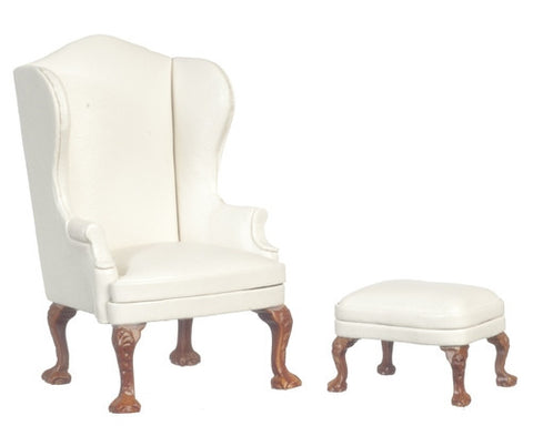 Wing Chair and Ottoman with White Silk Fabric