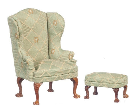 Queen Anne Wing Chair and Ottoman, Soft Green and Gold