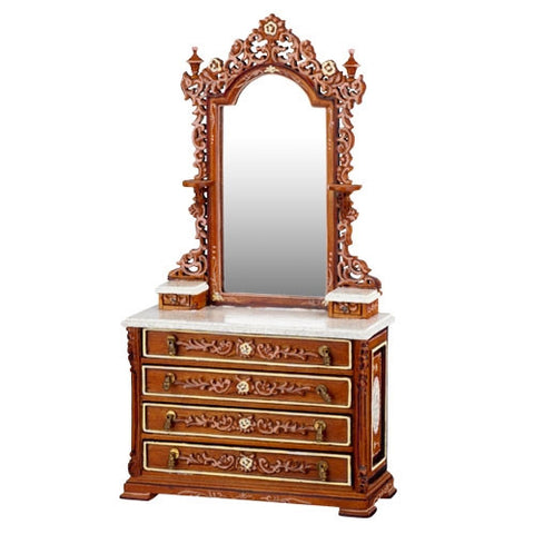 Ri Mauldie Vanity with Marble Top and Painted Details