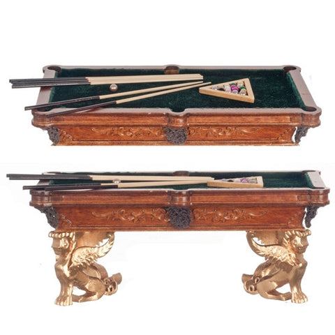 Figurehead Pool Table, New Walnut and Gold