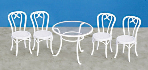 Table and Chair Set, White Metal