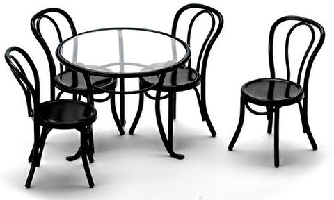Table and Chair Set, Black Metal
