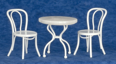 Table and Chairs, White Marble