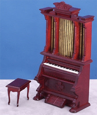 Pipe Organ with Bench, Mahogany