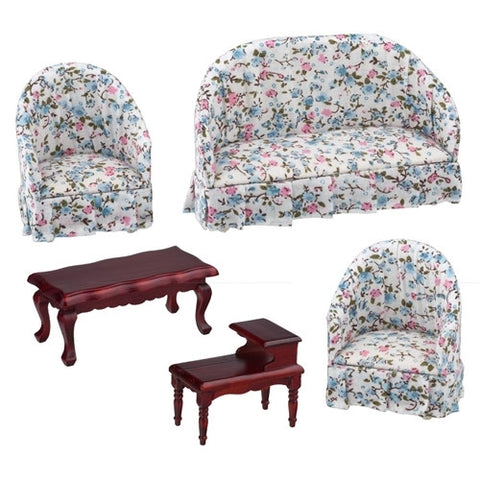 5 Piece Barrel Back Living Room Set, Blue Floral