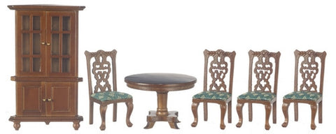 Dining room Set, Walnut and Green
