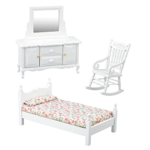 Twin Bedroom Set, 3 Piece, White
