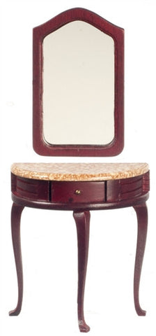 Demi Table with Mirror, Mahogany and Marble