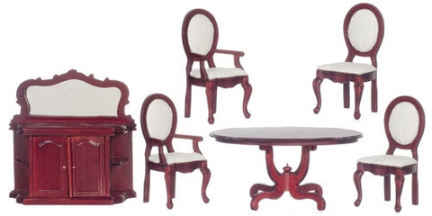 Dining Room Set, Mahogany and Ivory Silk Fabric