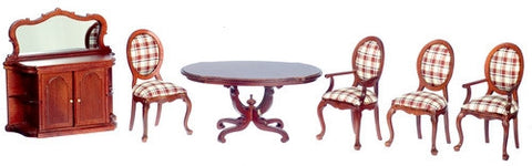 Dining Room Set with Mahogany and Plaid ON SALE