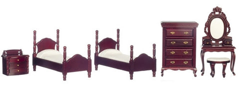 Twin Bedroom Set, Mahogany, Six Piece