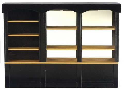Miniature Store Shelves, Black with Mirror