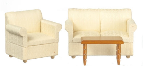 Living Room Set, Three Piece Modern White DISCONTINUED