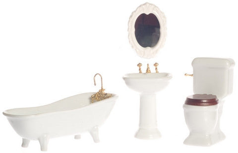 Four Piece Porcelain White Bathroom Set