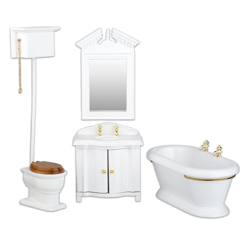 Old Fashioned Bath Set, White