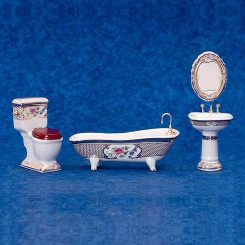 Bath Set, 3 PC Floral and Gold