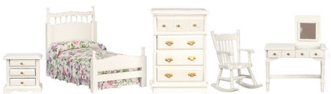 Bedroom Set, White Five Piece, Twin