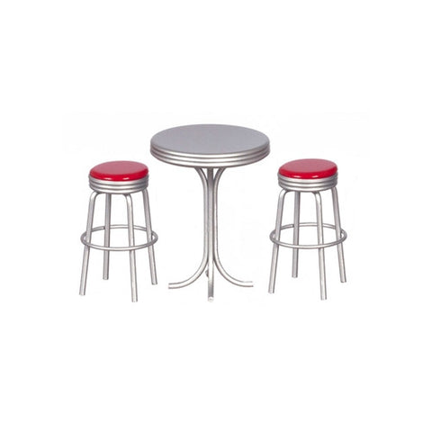 Raised Table with Red Top and Two Stools