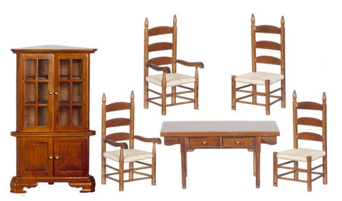 Dining Room Set with Corner Cupboard, Six Piece, Walnut