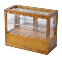 Display Case, Rectangular, Walnut Finish