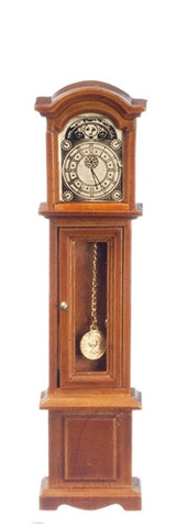 Grandfather Clock, Glass Front, Walnut Finish