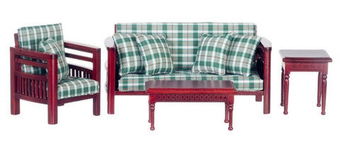 Family Room Set, Mahogany and Plaid On Special