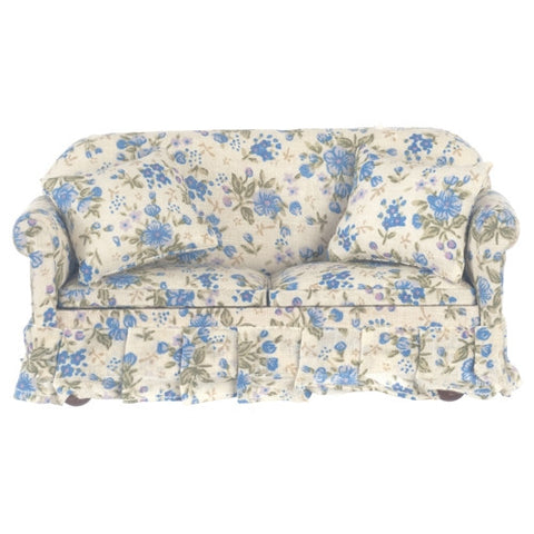 Blue Floral Chintz Overstuffed Sofa