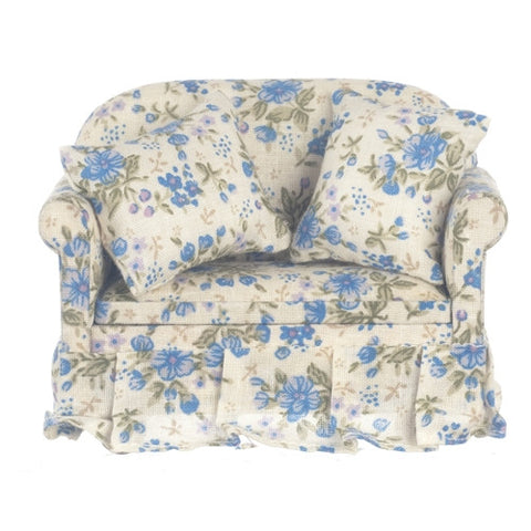 Blue Floral Chintz Loveseat