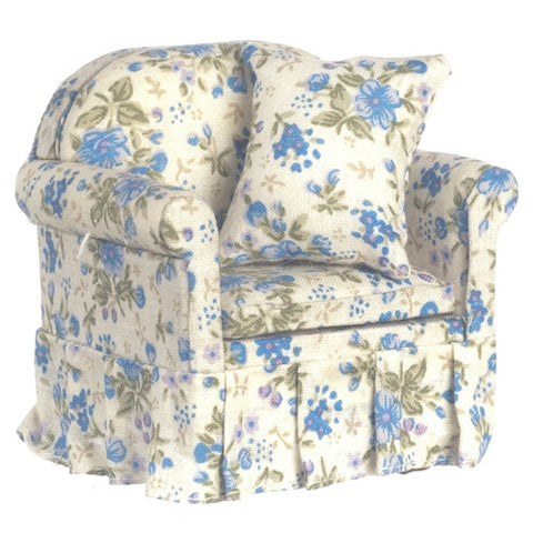 Blue Floral Chintz Overstuffed Chair