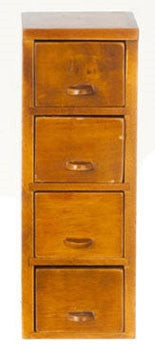 File Cabinet, Four Drawer, Walnut