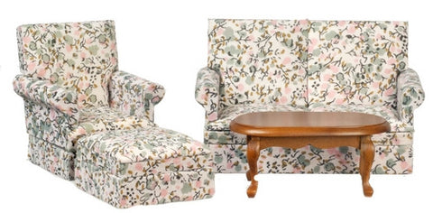 Living Room Set, 4 Piece, Blue Floral