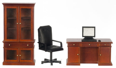 Office Set with Desk Top Computer, Mahogany Finish