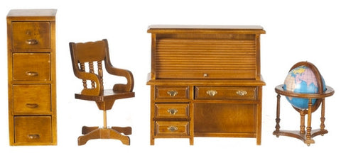 Office Set with File Cabinet and Globe, Walnut Finish